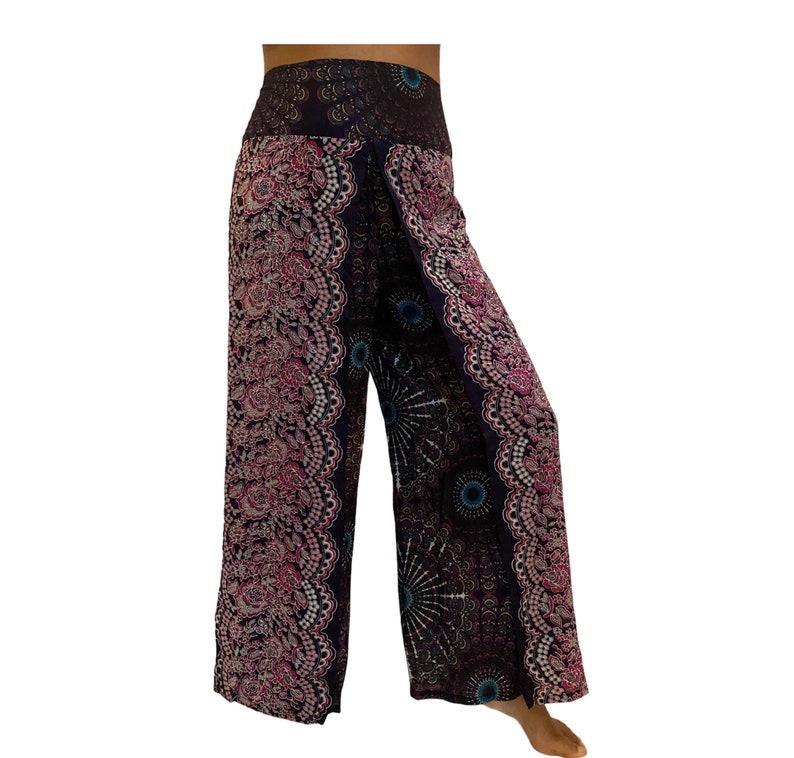 Summer Slit Pants,Wide Leg Rayon Pants,Hippie Pants,Harem Boho Pants,Mandala,Yoga Pants,Bohemian,Festival Clothing,Beach Pants,Comfy Pants