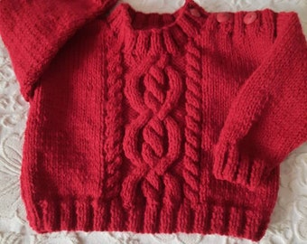 Aran sweater in dark red