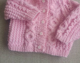 Hand knitted baby girls aran cardigan 0-3 months in pink