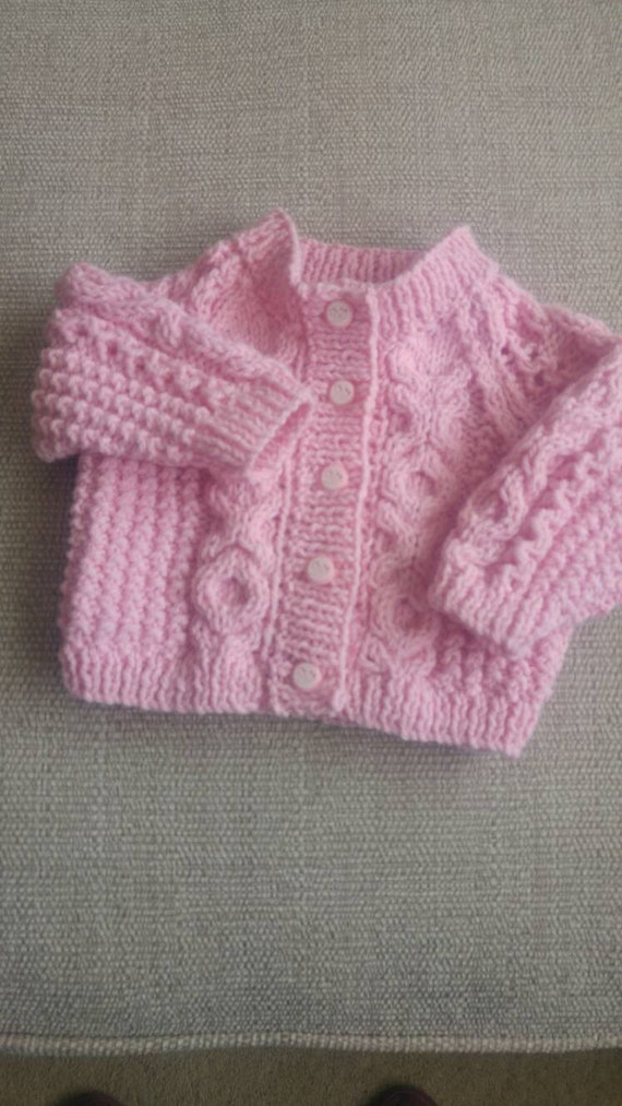 07a94ad5c Hand knitted baby girls aran cardigan 0-3 months in pink