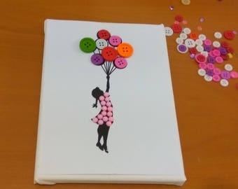 Dancer diy button art kit button canvas craft kit art diy button art kit girl with ballons button canvas craft kit art puzzle do it yourself colorful picture solutioingenieria Choice Image