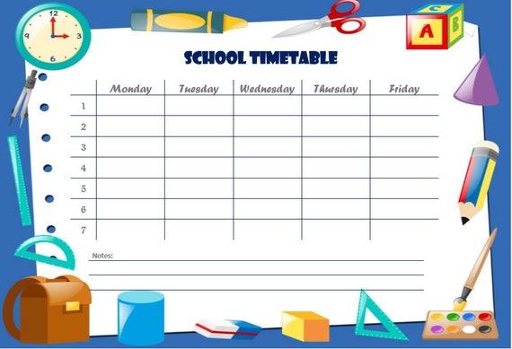 School Schedule School Timetable Student Planner School