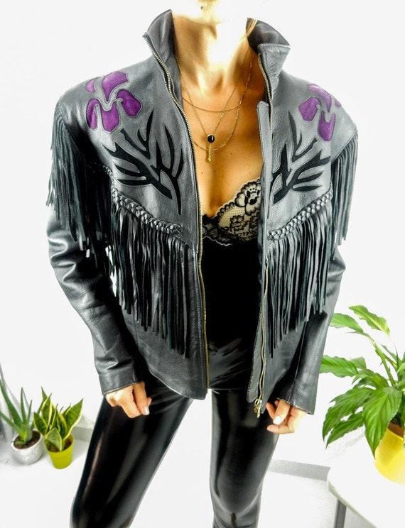Vintage Fringed Leather Jacket, XL