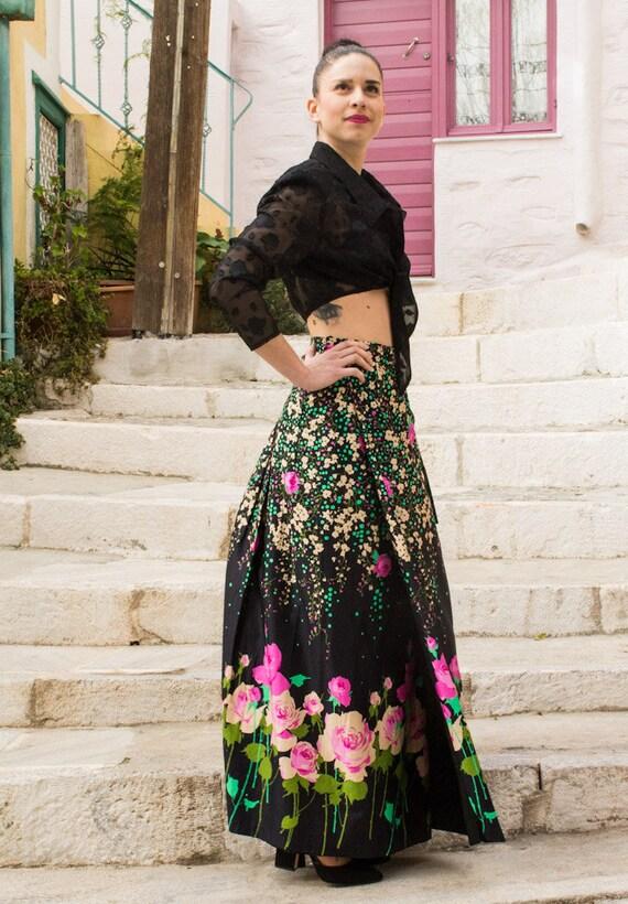 Vintage Pink Flower Tied Japanese Maxi Skirt