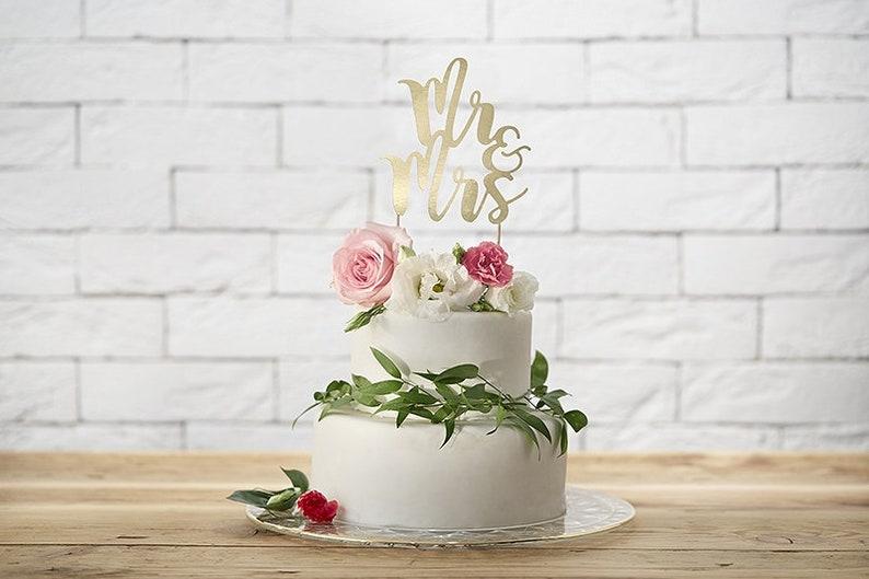Mr & Mrs  Cake Topper Gold image 0