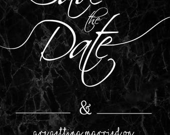 Save the Dates - Marble Effect (Black)