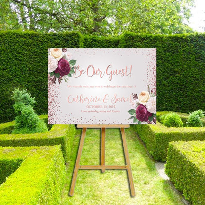 Rose Gold Be Our Guest Wedding Welcome Sign image 0