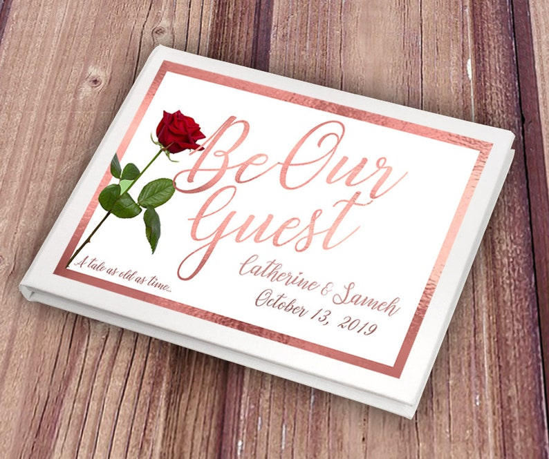 Personalised Rose Gold Be Our Guest Wedding Guest Book image 0