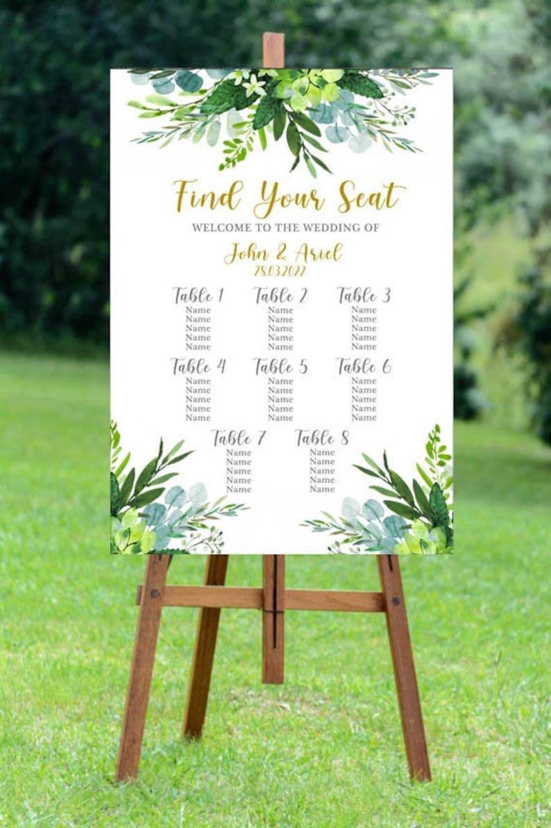 Portrait Floral Foliage Wedding Table Plan
