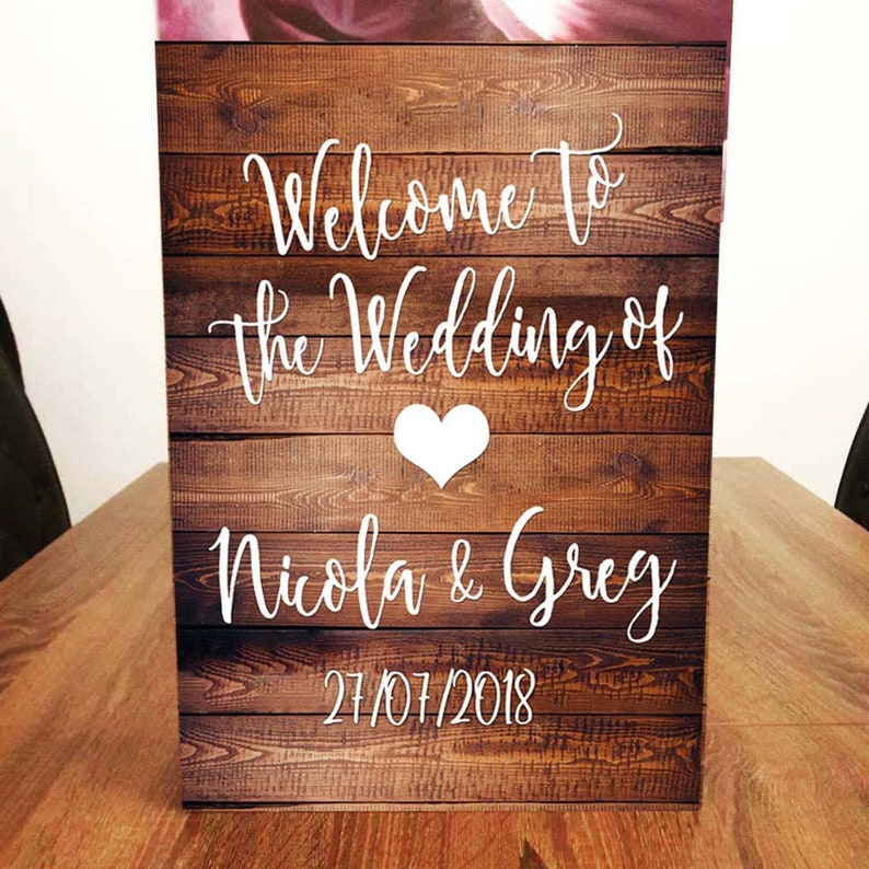 A2 Welcome to our Wedding Sign Dark Wood Effect. image 0
