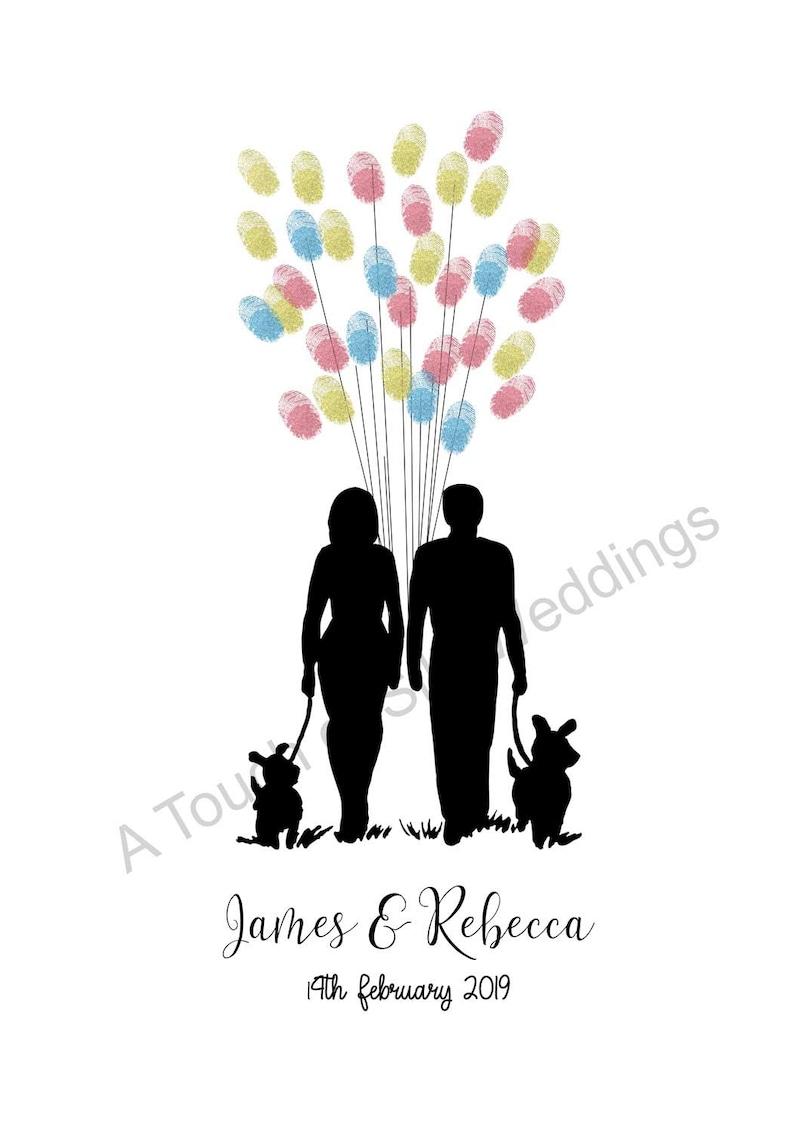Couple /& Their Dogs Fingerprint Guest Book