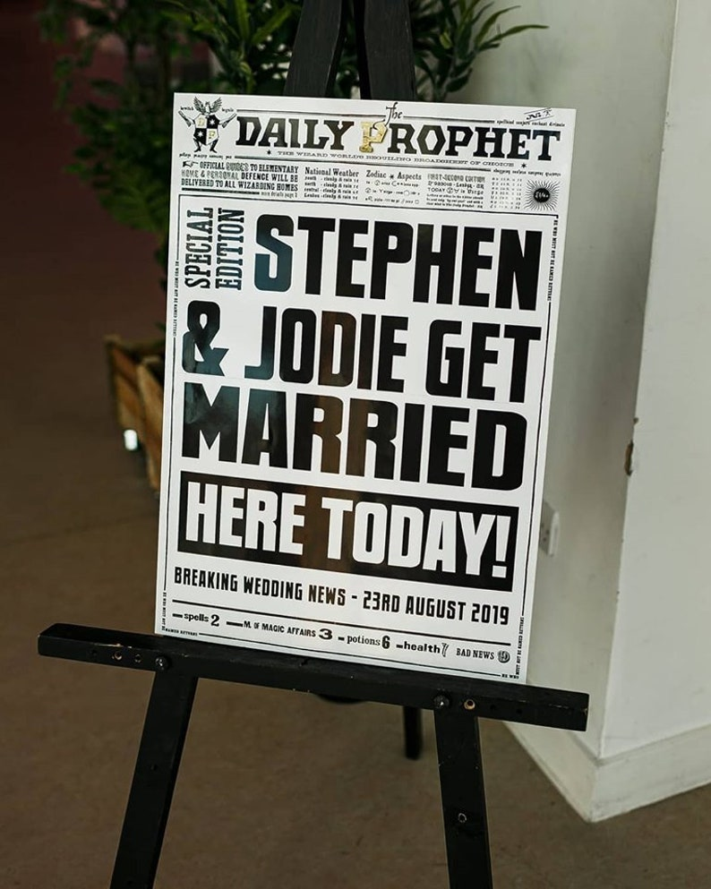 A1 Harry Potter Daily Prophet Wedding Welcome Sign image 0