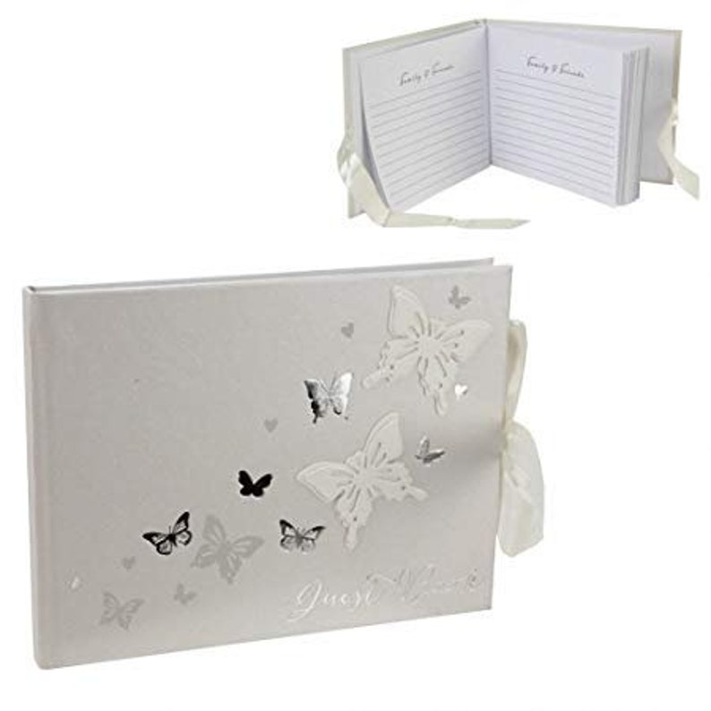 White and Silver Butterfly Guestbook image 0