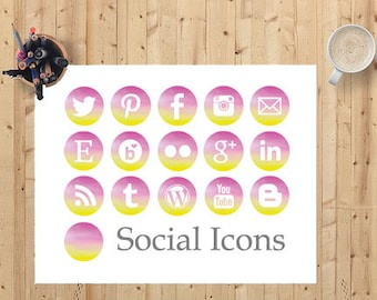 Instant Download - Rainbow Social Media Icons