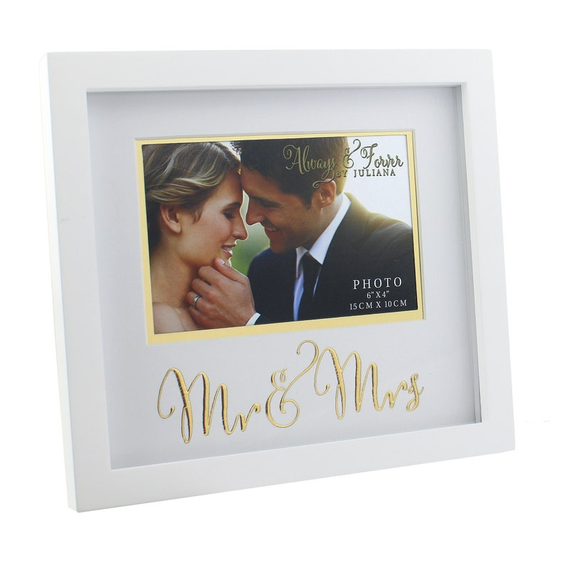 Mr & Mrs Photo Frame in White and Gold image 0