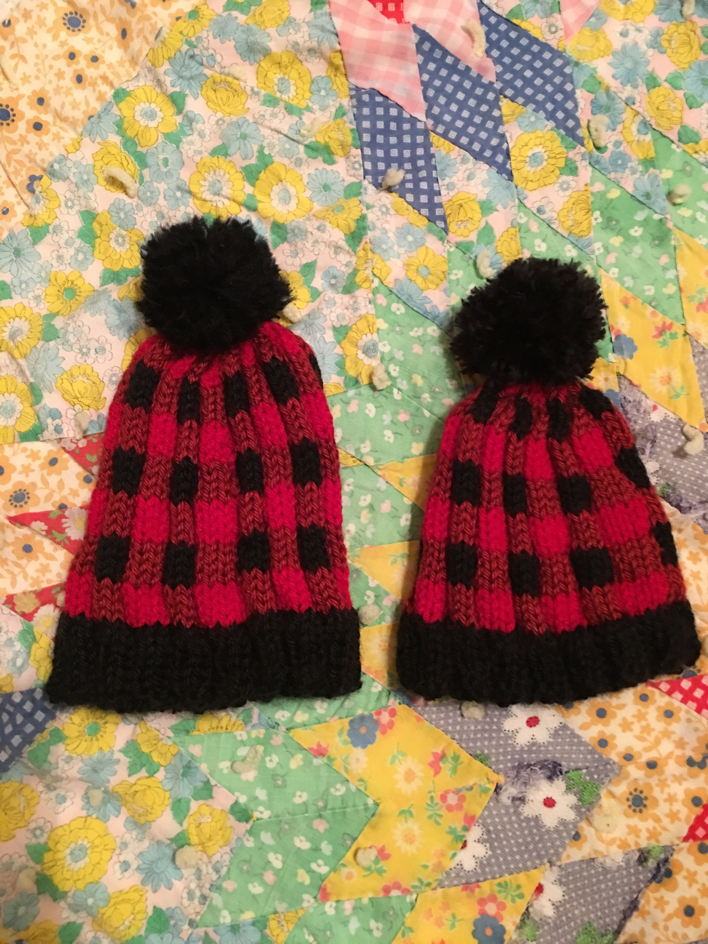 25da7da710b Baby Hand Knitted Lumberjack Hat Yarn Pom Pom Buffalo Plaid