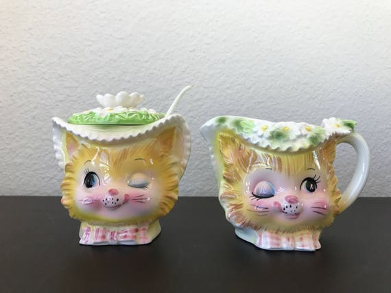 enesco winking kitty cat with flowers cream sugar japan etsy