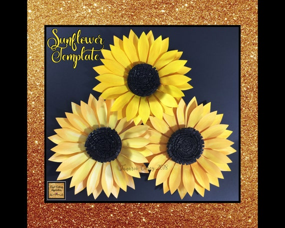 Paper Sunflower Template Svg Cut File Paper Flower Paper Flowers Sunflower Sunflower Template For Cricut Sunflower Template Printable