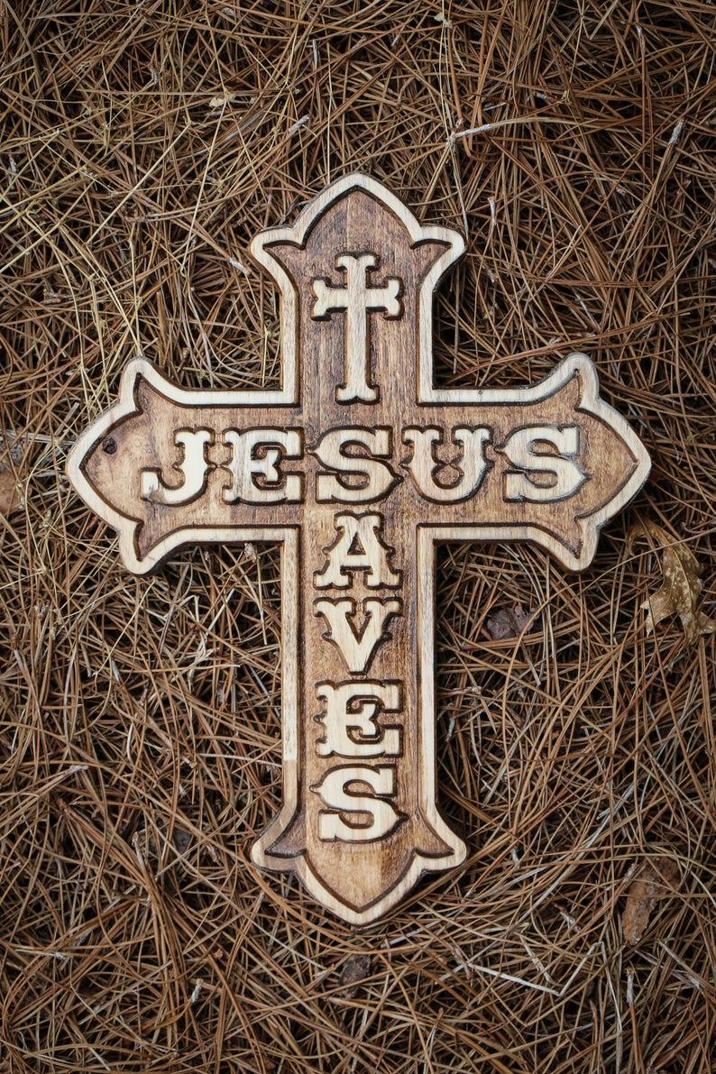 Wood Cross Resurrection Easter Decor Jesus Saves Baptism Christian Gift
