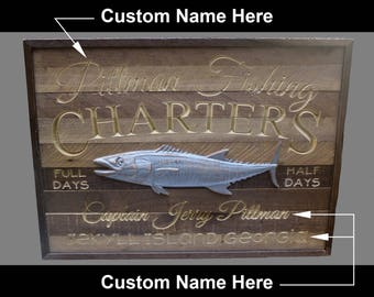 Rustic Custom Charter Fishing Sign - Be the Captain of your own Charter Boat