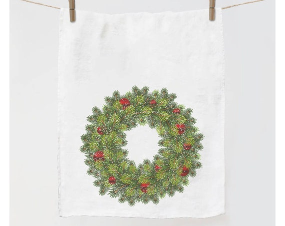 Kitchen towel, Christmas Wreath, Red decorations, Snowflakes, Holiday decor, dish towel, Christmas decorations