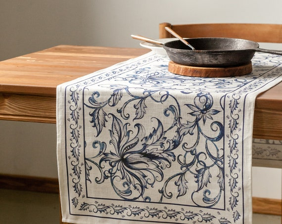 Table runner, Blue Willow, Chinese Porcelain Art, Housewarming gift, table topper, Linens, Holiday decor, hand made table runner