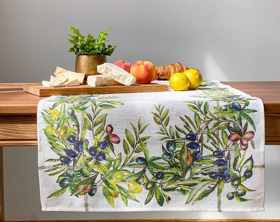 Table runner, olives, housewarming gift, easter table runner, housewarming, farmhouse runner, table decor, linen, table cloth, hand made
