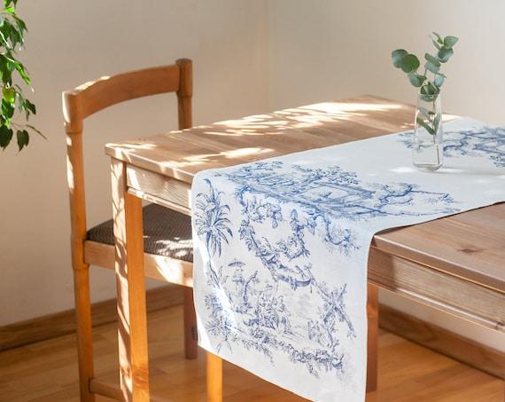 Toile de Jouy, Table runner, Linen table runner, 100% linen, custom table runner, Hand made in Lithuania