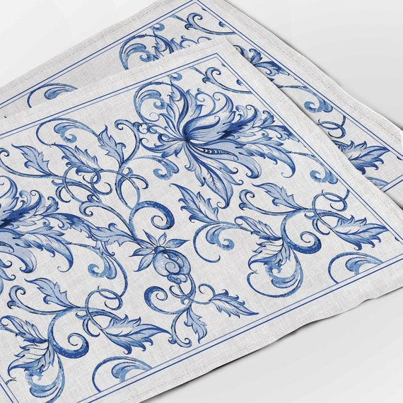 Placemats set, Blue willow print, Chinese Porcelain Art, 100% linen, fabric placemats, farmhouse placemats, linen placemats, made in Eu