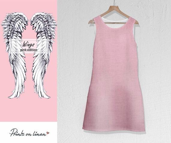 dress summer dress pockets idea maxi dress dress pink dress gift Linen angel blush pink wings wedding dress boho beach wings q8nYZwHz