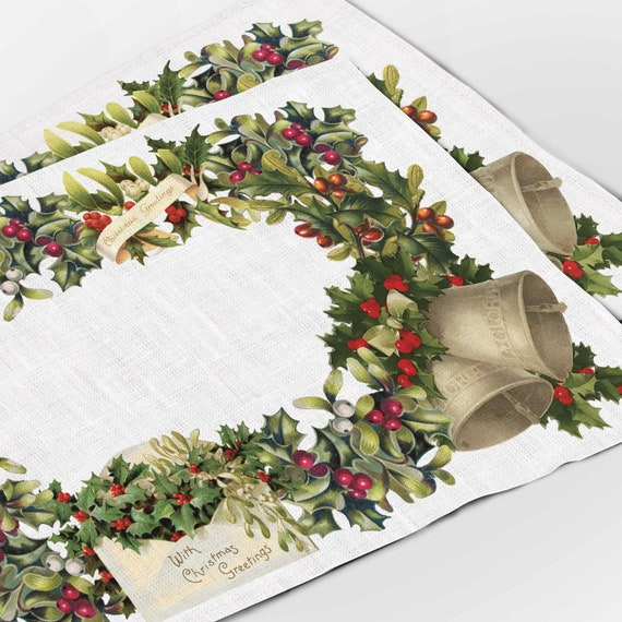 Christmas placemats, Placemats set of 4, Vintage Christmas, Christmas Letter, linen, Christmas ornaments, Winter placemats, Christmas decor