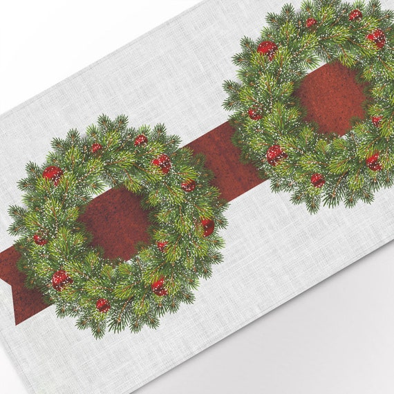 Table runner, Christmas Wreath, Red decorations, Snowflakes, Holiday decor, linen table runner, Christmas table top