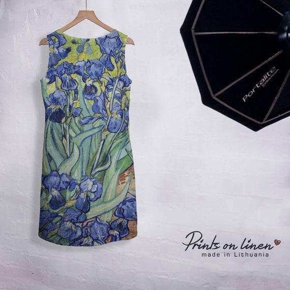tunic pattern dress Linen dress hippie linen dress loose boho Van party dress Gogh dress maxi sleeveless dress dress dress tunic OqxUqdr