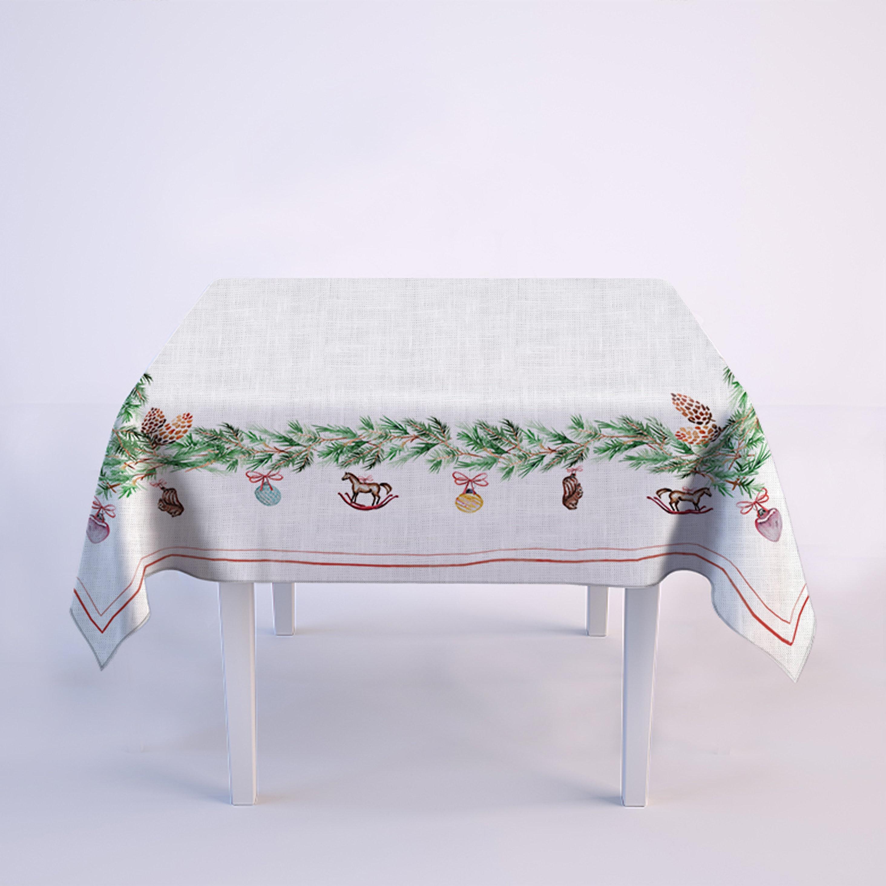 Linen tablecloth, farmhouse decor, vintage Christmas, gift idea ...