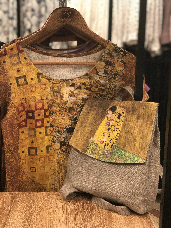 Small backpack, Gustav Klimt, 100% linen, women backpack, hand made