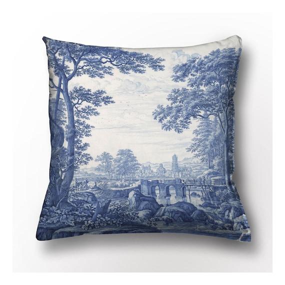 Cushion cover, Frederik van Frytom, linen cushion, vintage cushion cover, 18x18 inches, Toile de Jouy, 100% linen, Europe