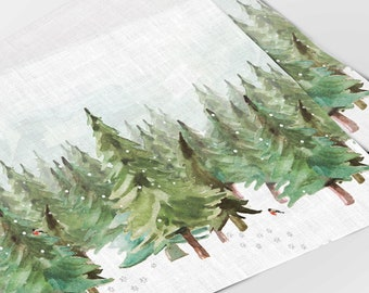 Christmas placemats, Placemats set (4 or 6), Paws in the Snow, Holiday placemats, linens, linen placemats, Christmas decor
