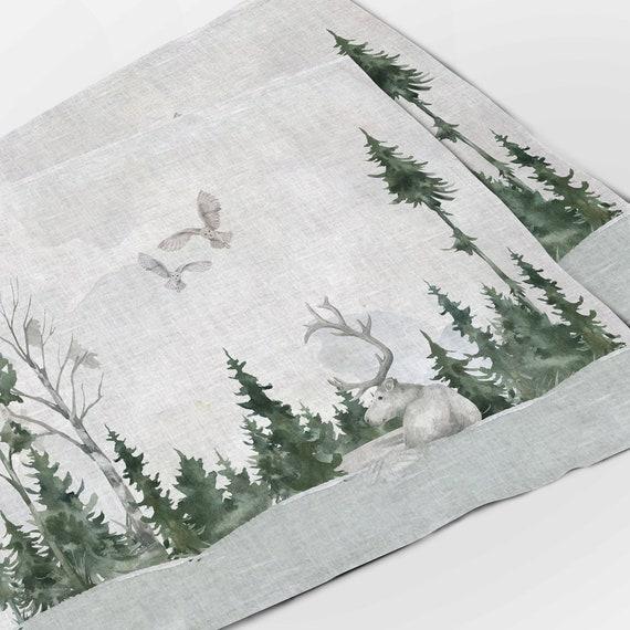 Placemats set, Wildlife Winter Landscape, linen placemats, winter placemats, Holiday placemats, 100% linen