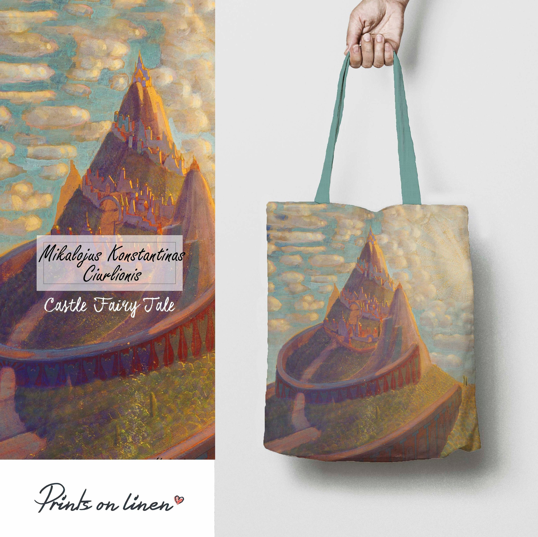 eco tote bag linen tote Tote bag canvas teacher bag linen bag market bag organic bag gift for teacher Ciurlionis shopping bag