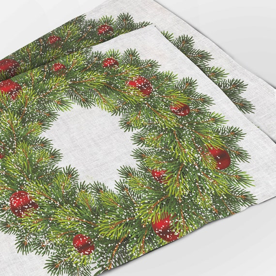 Placemats set, Christmas Wreath, Red decorations, Snowflakes, Holiday decor, Christmas placemats, Christmas decor