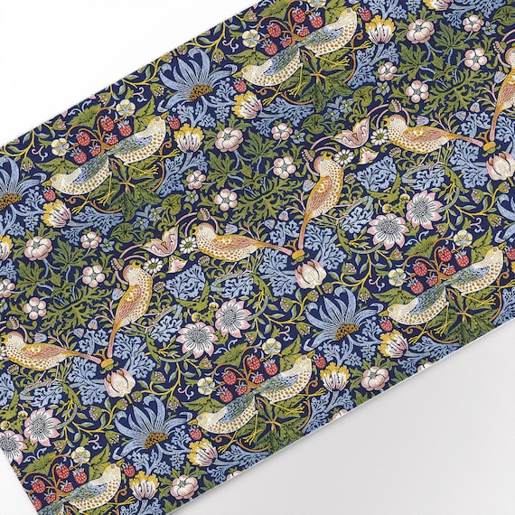 "Table runner, William Morris, Strawberry Thief, 19 x 56"", custom size table runner, 100% linen, linen table top"