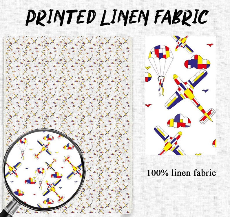 Fabric by yards, 100% linen, Planes, fabric by meters, fabric wholesale,  custom fabric, prints on linen, fabric for shirt, fabric for dress