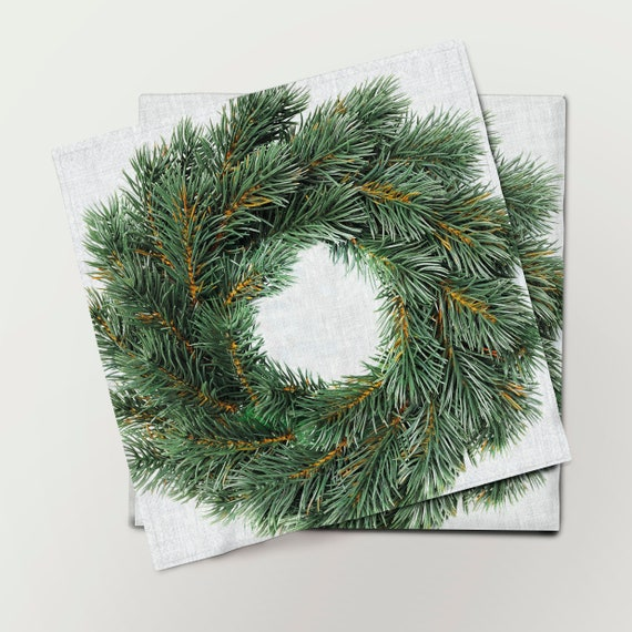 Napkins set, Spruce Branches Wreath, Prints on linen, Christmas decor, Christmas gift, cloth napkins, 100% linen,Holiday napkins