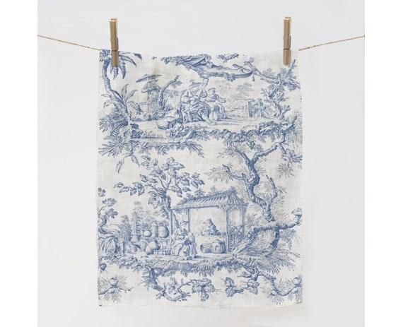 Kitchen towel, Toile de Jouy, linen towel, dish towel, 100% linen, kitchen towel, custom towel, linen towel fabric, personalized towel