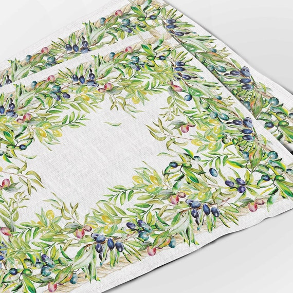 Placemats set, olive print, linen placemats, wabi sabi, farmhouse decor, fabric placemats, cloth napkins, table decor, mother in law gift