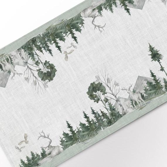 Table runner, Wildlife Winter Landscape, linen table runner, Winter table runner, Christmas table runner, 100% linen