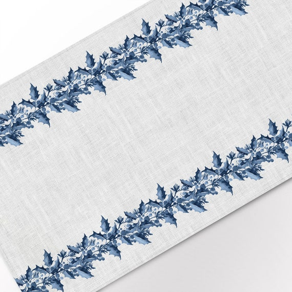 Table runner, Berries and Spruce, Linen table runner, Winter table runner, Christmas table runner, 100% linen, Blue Christmas decor