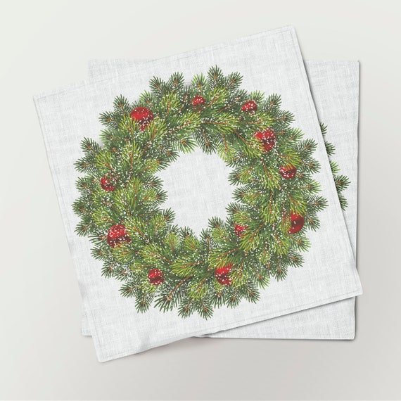 Napkins set, Christmas Wreath, Red decorations, Snowflakes, Holiday decor, Christmas napkins, Christmas pattern, fabric napkins
