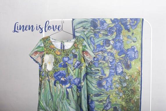 Linen dress, Van Gogh, Boho dress, vintage, loose dress, maxi dress, holiday dress, summer dress, Short sleeves, Art to wear, linen clothing