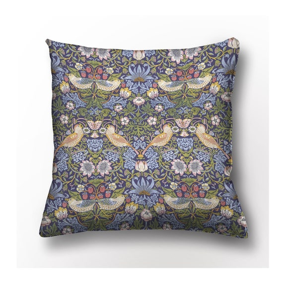 Cushion cover, Strawberry Thief, William Morris, Cushion cover with zipper, 100% linen, custom size, linen pillow